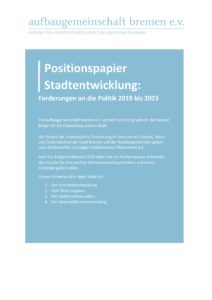 Titelseite Positionspapier Stadtentwicklung 2019 2023